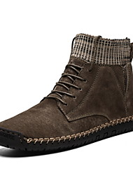 cheap -Men's Combat Boots Pigskin Winter Boots Booties / Ankle Boots Black / Gold / Gray