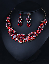 cheap -Women's Green Red Multicolor AAA Cubic Zirconia Collar Necklace Chandelier Heart Fashion Elegant Earrings Jewelry Rainbow / Green / Burgundy For Wedding Engagement Holiday 1 set