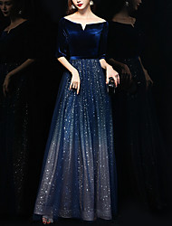 cheap -A-Line Off Shoulder Floor Length Polyester Sparkle / Blue Formal Evening / Wedding Guest Dress with Sequin 2020