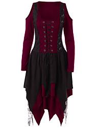 cheap -Plague Doctor Retro Vintage Medieval Renaissance Dress Masquerade Women's Costume Black / Purple / Burgundy Vintage Cosplay Party Halloween Long Sleeve