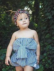 abordables -bébé Fille Actif Blanc / Bleu Rayé / Couleur Pleine Noeud Sans Manches Le maillot de corps Bleu clair