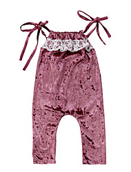 cheap -Baby Girls' Active / Basic Patchwork / Solid Colored Lace / Lace up / Lace Trims Sleeveless Overall & Jumpsuit Purple