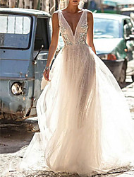cheap -A-Line Wedding Dresses V Neck Floor Length Tulle Regular Straps Boho Illusion Detail Plus Size Backless with Appliques 2020