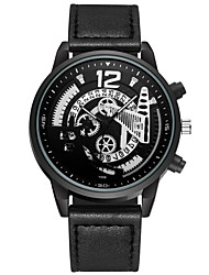 cheap -Men's Sport Watch Quartz PU Leather Black / Brown / Grey No Calendar / date / day Chronograph Hollow Engraving Analog New Arrival Fashion - Black Black / Brown Gray One Year Battery Life