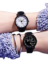 cheap -Couple's Sport Watch Quartz PU Leather Black No Chronograph Cute New Design Analog New Arrival Fashion - Black One Year Battery Life