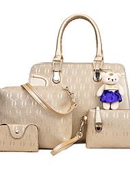 cheap -Women's Bear / Embossed Polyester / PU Bag Set Solid Color 4 Pieces Purse Set Black / Purple / Gold