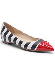 cheap -Women's Flats Flat Heel Pointed Toe Rivet PU Spring &  Fall White / Striped