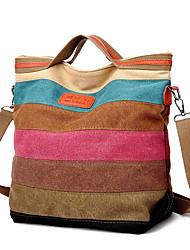 cheap -Women's Zipper Canvas Tote Canvas Bag Striped Rainbow / Fall & Winter