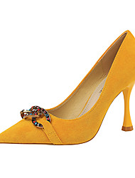 cheap -Women's Heels Stiletto Heel Pointed Toe Buckle Synthetics Minimalism Spring & Summer Black / Camel / Yellow / Party & Evening