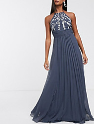 cheap -A-Line Elegant Prom Formal Evening Dress Halter Neck Sleeveless Floor Length Chiffon with Pleats Embroidery 2020