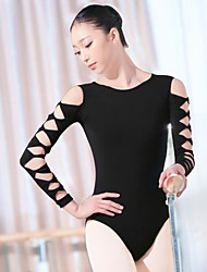 cheap -Ballet Leotard / Onesie Ruching Women's Training Performance Long Sleeve Natural POLY Cotton Blend