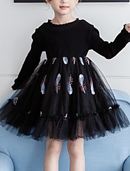 cheap -Kids Girls' Floral Dress Black