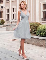 cheap -Women's Wedding Elegant A Line Dress - Solid Colored Gray S M L XL