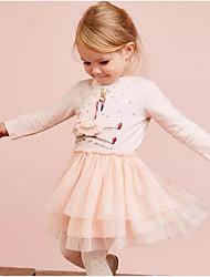 cheap -Kids Girls' Geometric Long Sleeve Dress Blushing Pink