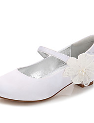 cheap -Girls' Mary Jane Satin Heels Little Kids(4-7ys) / Big Kids(7years +) Flower White / Ivory Spring / Party & Evening