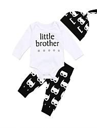 Χαμηλού Κόστους -Μωρό Αγορίστικα Καθημερινό / Ενεργό Στάμπα / Μονόχρωμο Στάμπα Μακρυμάνικο Μακρύ Σετ Ρούχων Λευκό
