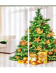 cheap -New Christmas Curtain Green Christmas Tree And Gold Gift Digital Printing 3D Curtain Festival High Quality Blackout Curtain