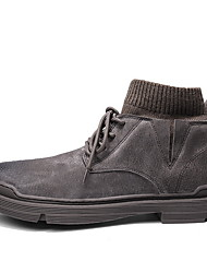 cheap -Men's Suede Shoes Suede Fall & Winter Boots Booties / Ankle Boots Black / Almond / Coffee