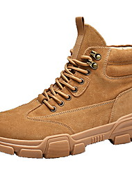 cheap -Men's Suede Shoes Suede Fall & Winter Boots Booties / Ankle Boots Black / Brown / Khaki