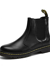 cheap -Men's Leather Shoes Leather Winter Boots Booties / Ankle Boots Black