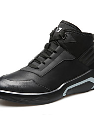 cheap -Men's Comfort Shoes Faux Leather Spring & Summer / Fall & Winter Sporty / British Athletic Shoes Basketball Shoes Non-slipping Striped Black