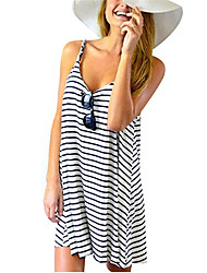 cheap -Women's Trumpet / Mermaid Dress - Striped Black S M L XL