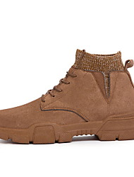 cheap -Men's Suede Shoes Suede Fall & Winter Boots Booties / Ankle Boots Black / Brown / Beige
