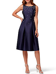 cheap -A-Line Jewel Neck Knee Length Satin Elegant Cocktail Party / Holiday Dress with Beading / Sequin / Pleats 2020