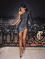 cheap -Women's 1920s Slim Flapper Dress - Abstract The Great Gatsby One Shoulder Silver S M L XL