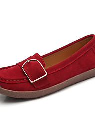 cheap -Women's Loafers & Slip-Ons Summer Flat Heel Round Toe Casual Daily Suede Walking Shoes Black / Red / Blue