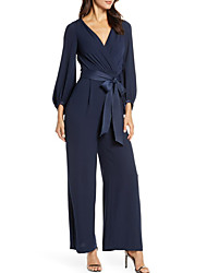 cheap -Pantsuit / Jumpsuit Mother of the Bride Dress Jumpsuits V Neck Ankle Length Polyester Long Sleeve with Sash / Ribbon 2020