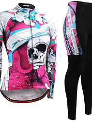 cheap -21Grams Women's Long Sleeve Cycling Jersey with Tights Winter Fleece Pink / Black Sugar Skull Skull Bike Clothing Suit Ultraviolet Resistant Quick Dry Breathable Back Pocket Sports Sugar Skull