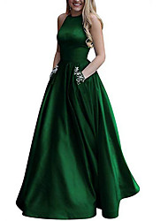 cheap -A-Line Open Back Prom Formal Evening Dress Halter Neck Sleeveless Floor Length Polyester with Pleats Crystals 2020
