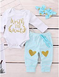 preiswerte -Baby Mädchen Freizeit / Aktiv Druck Druck Langarm Lang Kleidungs Set Weiß