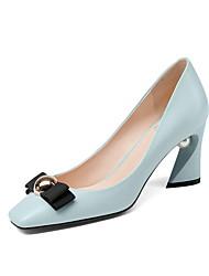 cheap -Women's Heels Chunky Heel Square Toe PU Fall & Winter Blue / Black / Daily