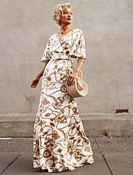 cheap -Women's Sheath Dress - Geometric Camel S M L XL