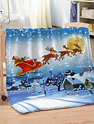 cheap -Eight Christmas Deer Digital Printed Double Blanket Thickened Warm Coral Throw Blanket for Winter