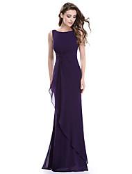 cheap -Mermaid / Trumpet Elegant Formal Evening Dress Jewel Neck Sleeveless Floor Length Lace with 2020