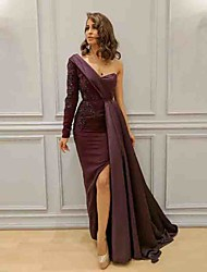 cheap -Sheath / Column One Shoulder Sweep / Brush Train Satin Furcal / Elegant Formal Evening Dress 2020 with Appliques / Sash / Ribbon / Split Front