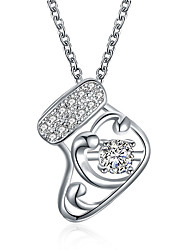 cheap -Women's Cubic Zirconia Pendant Necklace Geometrical Christmas Tree Copper Rose Gold Silver 45+5 cm Necklace Jewelry 1pc For Christmas Festival