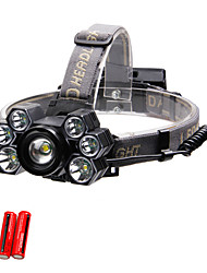 cheap -7 Headlamps LED 7 Emitters Portable Adjustable Wearproof Durable Camping / Hiking / Caving Everyday Use Cycling / Bike Black