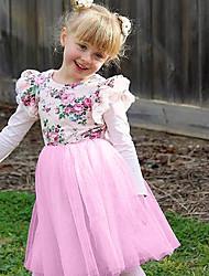 Χαμηλού Κόστους -Μωρό Κοριτσίστικα Ενεργό Rose Φλοράλ / Μονόχρωμο Στάμπα Αμάνικο Φόρεμα Ανθισμένο Ροζ