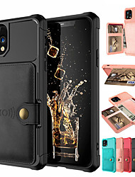 cheap -Case for iPhone 11/11Pro/11ProMax/X/XS/XR/XS Max Wallet / Card Holder / Shockproof Back Cover Solid Colored PU Leather / PC