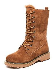 cheap -Women's Boots Flat Heel Round Toe Suede Mid-Calf Boots Fall & Winter Black / Camel / Green