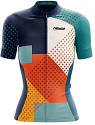 cheap -21Grams Women's Short Sleeve Cycling Jersey Blue+Orange Bike Jersey Top Mountain Bike MTB Road Bike Cycling UV Resistant Breathable Quick Dry Sports 100% Polyester Clothing Apparel / Stretchy
