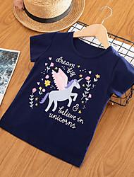 cheap -Kids Toddler Girls' Basic Chinoiserie Unicorn Print Print Short Sleeve Tee Wine