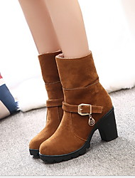 cheap -Women's Boots Chunky Heel Round Toe Suede Mid-Calf Boots Fall & Winter Yellow / Red / Black