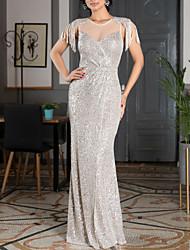 cheap -Sheath / Column Sparkle & Shine Formal Evening Dress Jewel Neck Sleeveless Floor Length Sequined with Sequin Tassel 2021