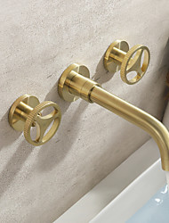 cheap -Bathroom Sink Faucet - Waterfall / Widespread Brushed Gold Wall Installation Two Handles Three HolesBath Taps