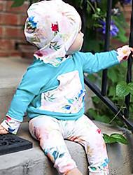 Χαμηλού Κόστους -Μωρό Κοριτσίστικα Καθημερινό / Ενεργό Φλοράλ / Μονόχρωμο Στάμπα Μακρυμάνικο Μακρύ Σετ Ρούχων Μπλε Απαλό